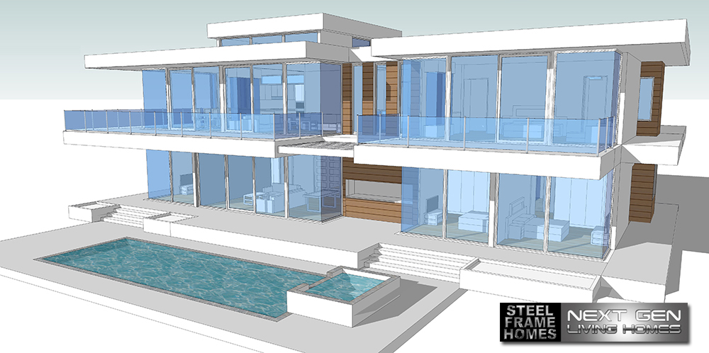 Two story modern glass home design next generation for Modern glass house floor plans