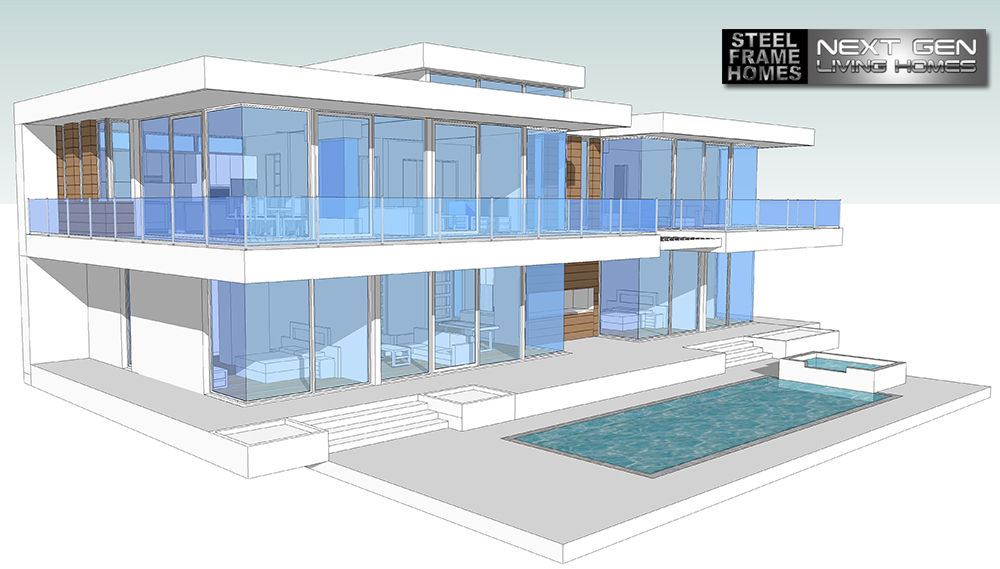 Two story modern glass home design next generation for Modern home plans with cost to build