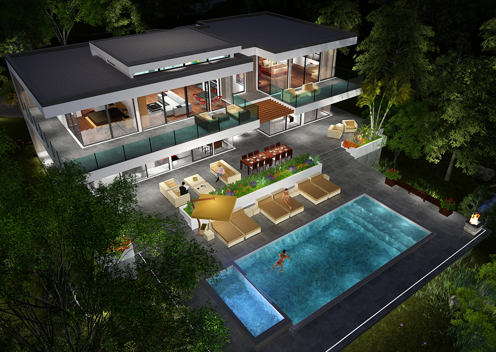 Buy our 2 level modern glass home 3d floor plan next for Small glass house plans