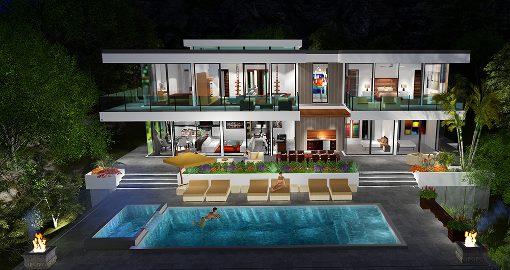 Two story modern glass home design next generation for Million dollar home designs